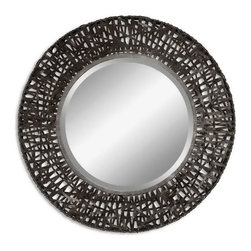 "Uttermost - Uttermost 11587 B  Alita Woven Metal Mirror - Mirror features a metal frame with black woven metal details. mirror has a generous 1 1/4"" bevel."