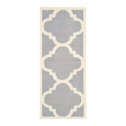 Safavieh - Cambridge Silver and Ivory Runner: 2 Ft. 6 In. x 22 Ft. Rug - - Decorate your home with the Safavieh Cambridge Welsh Rug. This eye-catching rug features a special high-low construction that adds depth and unusual detailing. The stunning colors are sure to impress  - Pile Height: 0.63  - Construction: Hand Tufted  - Shedding is a normal occurrence and will reduce over time with frequent vacuuming. It is also recommended that you vacuum regularly to prevent dust and crumbs from settling into the roots of the fibers. AVOID DIRECT AND CONTINUOUS EXPOSURE TO SUNLIGHT. USE RUG PROTECTORS UNDER THE LEGS OF HEAVY FURNITURE TO AVOID FLATTENING PILES. DO NOT PULL LOOSE ENDS CLIP THEM WITH SCISSORS TO REMOVE. TURN CARPET OCCASIONALLY TO EQUALIZE WEAR. REMOVE SPILLS IMMEDIATELY ; IF LIQUID BLOT WITH CLEAN UNDYED CLOTH BY PRESSING FIRMLY AROUND THE SPILL TO ABSORB AS MUCH AS POSSIBLE. FOR HARD TO REMOVE STAINS PROFESSIONAL RUG CLEANING IS RECOMMENDED. STORE IN A DRY WELL-VENTILATED AREA. USE OF A RUG PAD IS RECOMMENDED. Safavieh - CAM140D-222