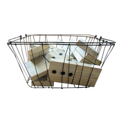Sugarboo Designs - Basket of Dominos - Ten oversized dominoes in a wire basket will bring a whimsical accent to your living room design.  They also make a fun addition to the decor of a home office, a console table, or a decorative bookcase.
