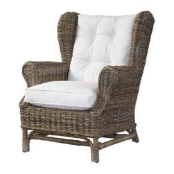 "Padma's Plantation - Kubu Wing Chair by Padma's Plantation - The classic shape of the Bali Wing Chair blended with the natural textures and solid hardwood legs result in a look that brings home a taste of the tropics. It features rattan and rattan peel in a herringbone weave. Seats are hardwood corner blocked frames with elasticized fabric spring decks for extra comfort. Cushion and pillow covers are removable for future recovering. Cushion and pillow are included in our base white fabric. (PP) 33"" wide x 35"" deep x 37"" high"