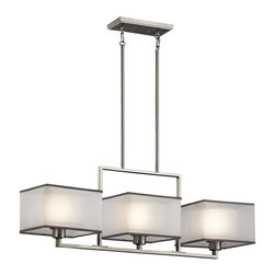 Kichler - Kichler Kailey 3-Light Brushed Nickel Island Light - 43437NI - This 3-Light Island Light is part of the Kailey Collection and has a Brushed Nickel Finish.