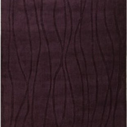 "Surya Rugs - Wave Prune Purple Rug Size: Runner 2'6""x 8' - 50% Acrylic / 50% Wool. Rugs Size: 2'6"" x 8'. Note: Image may vary from actual size mentioned."