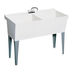 SWAN MF20000FM.001 Double Basin Floor Mount Utility Sink - The SWAN MF20000FM.001 Double Basin Floor Mount Utility Sink provides a 2-in-1 place to bleach, pre-soak, or hand-wash your linens and laundry alike. This wide dual-laundry tub has a total capacity of 44-gallons between its two basins. The whole unit is made from molded white Veritek and supported by heavy-duty steel legs. The tub features a molded-in wash board that's pre-drilled for a 4-inch center faucet (not included).About Trumbull IndustriesFounded in 1922 as a single branch plumbing supply house, Trumball Industries has evolved over the years in to a privately held corporation and full-line distributor with specialized divisions. With 6 branch locations, Trumball Industries has several divisions: an Industrial Division that provides products and services to industrial manufacturers, a Home Center Division that offers expertise in all major kitchen and bath products, a Municipal Division that offers a full line of water and sewer products, and a Master Distribution Center with 500,000 square feet housing over 80,000 products. Aside from providing quality services to their customers, the people at Trumbull Industries are happy provide a tour of any of their facilities as well as assist you with any design, layout, or purchasing decisions.
