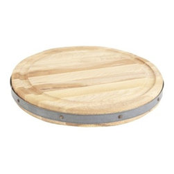 "Europe2You - Wooden Round Chop Block with Galvanized Edge - Whether serving as an eye catching centerpiece for pastries and fruits, or laden with after dinner treats, this serving tray made of reclaimed wood welcomes guests with warmth! The height of our French inspired chop block is essential for preparing and presenting food. Made from the timber salvaged from 19th century buildings in Central Europe, each block is outlined with galvanized steel. Our tray also serves as a distinguished base when used with a glass cloche to display cheese or fruit to dramatic effect. * Dimensions: D: 16"" H: 2"" * Can be used as a serving tray and cutting board and chop block"