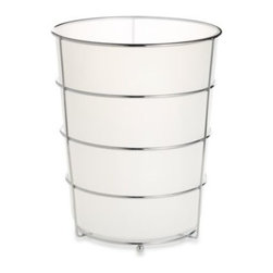 Allure Home Creation-california - Wire Ware Waste Basket - Each piece in this collection of bathroom accessories is made of sturdy, frosty white plastic and rests elegantly in a shiny wire chrome holder.