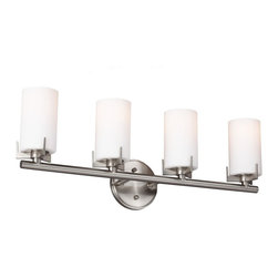 Murray Feiss - Kenton 4-lt Vanity Strip - The cylindrical glass shade of the Kenton Collection nests inside the three-arm detail that gives this transitional design its classic lines.