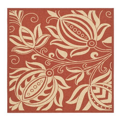 Safavieh - Safavieh Courtyard Cy2961-3707 Red / Natural Area Rug - Traditional patterns and classic beauty are found in the area rugs of the Courtyard collection. Made in Belgium of enhanced polypropylene, these rugs are extremely durable and perfect for indoor or outdoor use. The area rugs of the Safavieh Courtyard collection offer highly detailed and sophisticated designs created through an unusual sisal weave. Select the colors, design, and style that will compliment any room in your home in round, rectangular or runner rugs.