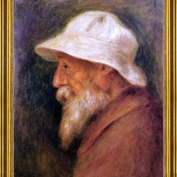 """Pierre Auguste Renoir-16""""x20"""" Framed Canvas - 16"""" x 20"""" Pierre Auguste Renoir Self Portrait with a White Hat framed premium canvas print reproduced to meet museum quality standards. Our museum quality canvas prints are produced using high-precision print technology for a more accurate reproduction printed on high quality canvas with fade-resistant, archival inks. Our progressive business model allows us to offer works of art to you at the best wholesale pricing, significantly less than art gallery prices, affordable to all. This artwork is hand stretched onto wooden stretcher bars, then mounted into our 3"""" wide gold finish frame with black panel by one of our expert framers. Our framed canvas print comes with hardware, ready to hang on your wall.  We present a comprehensive collection of exceptional canvas art reproductions by Pierre Auguste Renoir."""