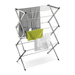 Chrome Accordion Drying Rack 24 Linear Feet - Honey-Can-Do DRY-01234 Commercial Drying Rack, Chrome. This sleek, commercial-grade drying rack boasts heavy-duty construction and a rust-resistant chrome finish. It features angled leg caps for maximum stability. Unlike a wall-mounted unit, this portable rack can be used anywhere including the laundry room, balcony, or bathroom making an attractive drying space out of any room in your home. The space-saving unit offers a full 24-linear feet of drying area and folds down to a mere 3-inches flat for easy storage when not in use. A top shelf provides ample space for drying folded items such as sweaters. Save on energy costs while protecting the environment and increasing the life of your garments.