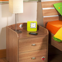Modern Wood - Contemporary design meets industrial strength with this elegantly designed nightstand. Features wood finish and aluminum hardware.