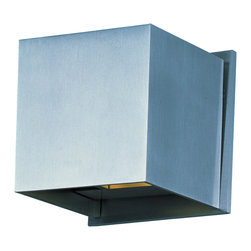Et2 - E41308 Alumilux Wall Mount - E41308 Alumilux Wall Mount features an aluminum frame and is available in bronze or satin aluminum finish options. Two 3-watt, 120 volt LED modules come included. Dry Location Rated. Dimensions: 4.5W x 4.5H x 4.25D.