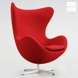 Arne Jacobsen Egg Chair Red by Fritz Hansen at Stardust - The classic Arne Jacobsen Egg Chair upholstered by Stardust in Gabriel Red Fame.  Arne Jacobsen designed the Egg for the lobby and reception areas of the Royal Hotel Copenhagen Denmark in 1958. This organically shaped chair has since become synonymous with Danish furniture design throughout the world. Because of the unique shape, Arne Jacobsen's Egg Chair guarantees a bit of privacy in otherwise public spaces, and the Egg Chair - with or without ottoman - is ideal for lounge and waiting areas as well as the home.  The authentic Arne Jacobsen Egg Chair made by Fritz Hansen is available from Stardust: http://www.stardust.com/eggchairfamered.html