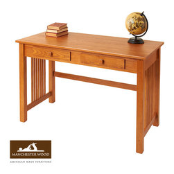 Large Mission Desk by Manchester Wood - Large workspace. Classic lines. This large solid wood desk is an authentic New England homestead piece with Pan-America heritage. Entirely made in the United States, and crafted from sustainable Northeast hardwood; built to last generations.
