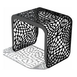 Arktura - Coral Stool | Arktura - Design by Arktura.The cellular, organic patterns of the Coral Stool extend the full length of the form, providing a visually compelling experience. Inspired by nature, these algorithmically generated patterns are laser cut into radius bent steel which is then powder coated in one of several modern finishes. The Coral Stool is a highly versatile piece which works equally well in an indoor or outdoor environment and pairs beautifully with the  Coral Café Table. Available in eight modern colors.The Coral Stool is produced with wind and solar power, as are all products from Arktura. Their approach to sustainability begins with a commitment to make quality products that last for a lifetime; and continues into their manufacturing process. Many Arktura products are made of recycled steel and aluminum, which in some pieces contain up to 100% recycled content. And all metallic pieces produce zero landfill waste from manufacture.