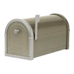 "Architectural Mailboxes - Bellevue Post Mount Mailbox Bronze with Platinum Accents - ""Neither rain nor snow… "" You can count on this good looking mailbox to keep your incoming mail secure from the elements for many years to come."