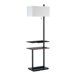 CAL Lighting - Cal Lighting BO-2448FL 100W Mena Metal Floor Lamp With Dual Layer Tray Tables - CAL Lighting BO-2448FL 100W Mena metal floor lamp with dual layer tray tables