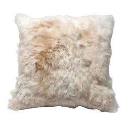 Pre-owned Alpaca Fur Throw Pillow - A throw pillow covered in baby alpaca fur, with a blended down insert - how completely luxurious. This cream-colored throw pillow is brand new, and will add elegance to any sofa, bed or club chair.