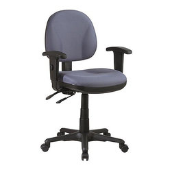Office Star - Multi-function Task Chair (Light Grey in Fest - Fabric: Light Grey in Festival PatternOur take on the traditional office chair comes with fully adjustable armrests!  You can adjust both the height and the width of the armrests on this lovely chair!  The blue-gray color will brighten up any office space.  The seat is adjustable as well for your height needs.  Carpet safe casters allow you to move the chair wherever you need it! *  Contour Seat and Back with Built-in Lumbar Support. Pneumatic Seat Height Adjustment. Back Height Adjustment. Multi Task Control. Height and Width Adjustable Armrests. Heavy Duty Nylon Base with Dual Wheel Carpet Casters.  Seat Size: 20.5W x 19.5D x 3.5T. Back Size: 20.5W x 19H x 1.25T. Overall Max: 42H x 27W x 26.5D