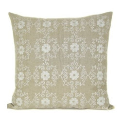 Design Accents Emblem Pillow - Ivory - Light and beautiful, the breezy simplicity of the Design Accents Emblem Pillow - Ivory adds a touch of class no matter your style. Made of quality cotton, this modern square pillow ensures lasting beauty in your home. The hand-embroidered floral design gives a subtle elegance and luxurious appeal to your bed, sofa, or chair.
