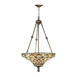 Dale Tiffany Buckminster Inverted Hanging Fixture - 19W in. Antique Brass Platin - With a Tiffany-inspired style that's sure to earn compliments, the Dale Tiffany Buckminster Inverted Hanging Fixture - 19W in. Antique Brass Plating makes a lovely addition to any home's lighting. It features a metal base finished in antique brass plating, and a hand-rolled art glass shade.About Dale TiffanyFounded in 1979, Dale Tiffany, Inc. started manufacturing Tiffany-styled lamps and shades, emphasizing high-quality reproductions of Louis Comfort Tiffany's famous designs. Today, using only the highest quality genuine hand-rolled art glass, Dale Tiffany offers an extensive range of designs to create the world's foremost collection of fine art glass lighting and home accents. With this hand-crafted process, no two pieces are exactly alike, making each design a treasured keepsake. Dale Tiffany captures the timelessness of America's classic designers while developing unique designs that blend perfectly with today's home fashion trends and lifestyles.