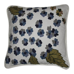 Crewel Fabric World - Crewel Pillow Montana Blue on White Cotton Duck 18x18 Inches - The lush Clusters of Blue Montana in early Spring makes your home look so refreshing and beautiful. Crewel Blue Montana will recreate the Early spring in your home.
