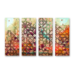 """The Oliver Gal Artist Co. - ''1001 Nights 4 Panels' 12""""x32"""" Canvas Art - Fine art premium canvas print with hand brushed acrylic finish"""