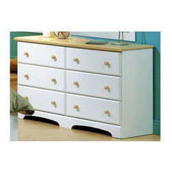 """South Shore - White Newbury Finish 6 Drawer Double Dresser - A dresser with six drawers for vast amounts of storage space!  Crafted with a lovely, light maple finish and accented with round wooden knobs, this dresser is suitable for any bedroom.  The drawers are white and are contrasted by the surface and knobs with a natural maple coloring.  Splendid and chic.  Give your daughter the storage space she needs in one place with this piece. * Manufactured from eco-friendly, EPP-compliant laminated particle boardcarrying the Forest Stewardship Council (FSC) certification. 6 drawer dresser unit. Sintec drawer glides. Maple finish wood knobs. Constructed of particleboard with a laminate finish. Assembly required. 5-year manufacturer's limited warranty. 29"""" H x 50"""" W x 16"""" D"""