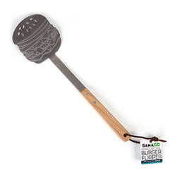 Gama-Go - Burger Flipper - Flip out for this savory spatula. Stainless steel with wooden handle. Get your hamburger fix with the Burger Flipper by Gama-Go! Features a leather hanging strap for convenient storage.