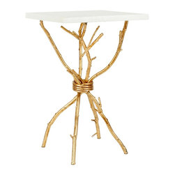 Safavieh - Alexa Accent Table - White/ Gold Legs - Faux bois branches distinguish the Alexa accent table, artfully crafted with silver leaf finish on iron, contrasted by an ethereal white marble top.