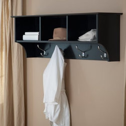 Prepac Sonoma Black Entryway Cubbie Shelf and Coat Rack - Don't settle for just another old coat rack. Choose the Prepac Sonoma Black Hanging Coat Rack and add another style element to your home. Constructed from high-quality composite wood laminate, this coat rack has a classic black finish. Three storage compartments hold hats, gloves, and other items, and four large double hooks hold even the heaviest of coats. The rack includes an easy-to-install two-piece hanging rail system. Dimensions: 14.25W x 10D x 8.75H inches.