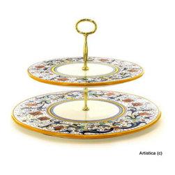 Artistica - Hand Made in Italy - Ricco Deruta: Two Tier Tid-Bit Tray - Artistica's Exclusive!