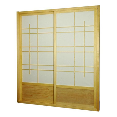 Oriental Unlimted - Eudes 7ft. Tall Shoji Sliding Door Kit in Nat - Includes sliding doors, top and bottom tracks and right and left door jambs. Gives it an art deco feel with large geometric lattice work. Designed for constant use. Easy to install, like a pre-hung door kit from the lumberyard. Top quality at an unbeatable price. Tough shade. Hard fiber rice paper, difficult to puncture, allows diffused light. Provides complete privacy. Crafted from durable, lightweight and beautifully finished Spruce. Constructed using east Asian style mortise and tenon joinery. Assembly required. Rough opening (outside dimension): approximately 73.5 in. L x 3.5 in. W x 83 in. H. Tracks and jambs: approximately 3.5 in. W x 1.75 in. H. Each door: approximately 36 in. L x 1 in. W x 80 in. H. NOTE: If you prefer no bottom track, install sliding door hardware (top mounted) from your local hardware retailer.
