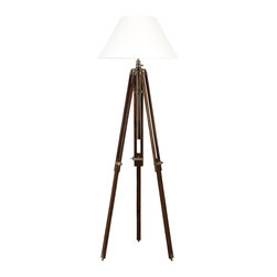 EICHHOLTZ LIGHTING - Nickel finish, brown wood legs and white shade