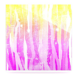 "Kess InHouse - Frederic Levy-Hadida ""Jungle Stripes Pink"" Yellow Painting Metal Luxe Panel (8"" - Our luxe KESS InHouse art panels are the perfect addition to your super fab living room, dining room, bedroom or bathroom. Heck, we have customers that have them in their sunrooms. These items are the art equivalent to flat screens. They offer a bright splash of color in a sleek and elegant way. They are available in square and rectangle sizes. Comes with a shadow mount for an even sleeker finish. By infusing the dyes of the artwork directly onto specially coated metal panels, the artwork is extremely durable and will showcase the exceptional detail. Use them together to make large art installations or showcase them individually. Our KESS InHouse Art Panels will jump off your walls. We can't wait to see what our interior design savvy clients will come up with next."