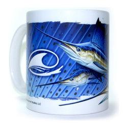 "Dennis Friel Art Studios - Triple Sailfish Art Mug – 11oz - Featuring the original Sailfish illustration and design, ""Triple"", on a 11 ounce, shiny white ceramic mug. It has a large handle that's easy to hold. Dishwasher and microwave safe."