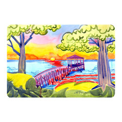 Caroline's Treasures - Dock At The Pier Kitchen Or Bath Mat 20X30 - Kitchen or Bath COMFORT FLOOR MAT This mat is 20 inch by 30 inch.  Comfort Mat / Carpet / Rug that is Made and Printed in the USA. A foam cushion is attached to the bottom of the mat for comfort when standing. The mat has been permenantly dyed for moderate traffic. Durable and fade resistant. The back of the mat is rubber backed to keep the mat from slipping on a smooth floor. Use pressure and water from garden hose or power washer to clean the mat.  Vacuuming only with the hard wood floor setting, as to not pull up the knap of the felt.   Avoid soap or cleaner that produces suds when cleaning.  It will be difficult to get the suds out of the mat.