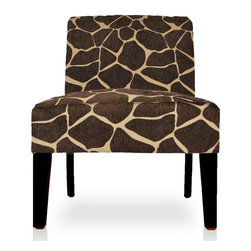 Urban Home Giraffe Accent Chair - Made of select hardwoods with quality foam on the seat and back. Features an environmentally friendly giraffe print made of a cotton/poly blend.