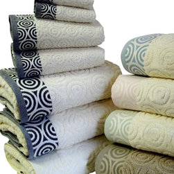 Royal Tradition - RT 6-PC Water Weaves Towel Set - Add new meaning to your bath with this stylish new look of Jacquard Egyptian cotton water weaves like pattern. The weave pattern is through out the towel; it?s engraved in terry within the Towel and woven with yarn dyed in the borders of both sides. The color name selection refers to the color in the border. The Towel body (Terry) color is of a natural color for better matching with any other bath accessories you may already have. Terry Loops Front & Back * Double Jacquard with water weaves pattern on both sides? borders.