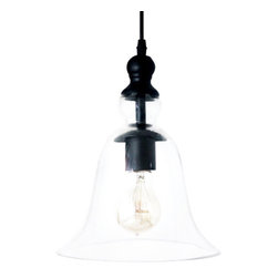 Ohr Lighting® - Ohr Lighting® Edison Bell Shaped Pendant Light, Clear/Antique Brass - Features