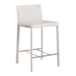 "Coaster - Counter Height Stool (White) By Coaster (Set Of 2) - Pull up a seat and enjoy a casual meal or drink with the casual contemporary designs of this 24 inch bar stool. The low profile seat back and bold color options will accentuate your gathering height table in your game room or bar countertop in your kitchen. The seat and seat back are covered in red vinyl, while black, white or chocolate vinyl options are also available to accommodate your stylistic needs! Features:Upholstered in durable leather like vinyl Durable steel construction with a high polished chrome finishing White Armless Side Chair Bold Straight Legs with Silver Stretchers Low Profile Seat Back. Specifications:Overall Dimensions: 33.5""H x 17.75""W x 22""D. Weight: 33.00 lbs. Seat Height: 24""."