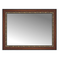 """Posters 2 Prints, LLC - 38"""" x 29"""" Malabar Walnut Custom Framed Mirror - 38"""" x 29"""" Custom Framed Mirror made by Posters 2 Prints. Standard glass with unrivaled selection of crafted mirror frames.  Protected with category II safety backing to keep glass fragments together should the mirror be accidentally broken.  Safe arrival guaranteed.  Made in the United States of America"""