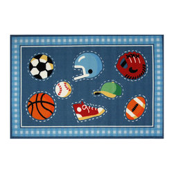 """Fun Rugs - Go Team! Olive Kids Collection Rug - 39"""" x 58"""" - This colorful rug has go team! design Collection Name: Olive Kids; 100% Nylon Dimensions: 39"""" x 58"""""""