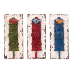 Vibrant Colored Wall Hooks - Set of 3 - Now here's something to chirp about - the Vibrant Colored Wall Hooks - Set of 3 feature colorful metal motifs, complete with adorable little birds. And that's not all - the wood backs have a heavily distressed white finish that's perfectly shabby chic, and you can install these wall hooks anywhere your keys, purse, or jacket need a stylish hangout.