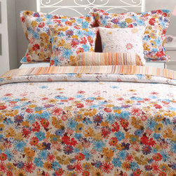 None - Euphoria 3-piece Quilt Set and Sham Separates - Give your bedroom a youthful appearance with this multicolored cotton quilt bedding set. The cheerful floral pattern flips over to reveal a bright striped design, so you can change your bed's look whenever you want. The set is also machine-washable.