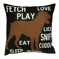"Uptown Artworks - Fetch Play Love Pillow - Features: -Material: Natural cotton / linen. -We recommend spot-cleaning or wash in cool water with phosphate-free detergent. -Zipper closure, plush feather and down insert. -Made in the United States. -Eco-friendly. -Overall dimensions: 20"" H x 20"" W, 2 lbs."