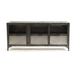 Antique Nickel Finish Iron Media Cabinet - Function meets unique modern design in the Element Media Chest. The Element Media stand is crafted of iron and steel that features an antique nickel finish. This media chest furniture epitomizes modern industrial chic.