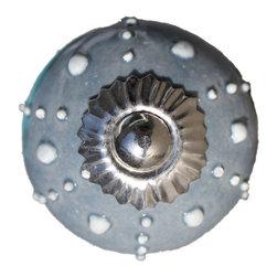 Drawer Knob Ceramic Ball In Grey And White - Sea Urchin - Drawer Knob / Cabinet Pull Ceramic Ball in Grey and White / Sea Urchin (CK09)