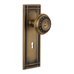 Nostalgic Warehouse - Nostalgic Mission Plate with Meadows Knob and Keyhole in Antique Brass (716010) - The Mission plate in antique brass harkens to the Spanish Colonial period of the Western frontier, with an instantly recognizable square corner. Add our Meadows Knob, with its captivating design, for a stylish and sleek look. All Nostalgic Warehouse knobs are mounted on a solid (not plated) forged brass base for durability and beauty.