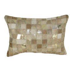 """Square Pattern Leather Pillow, Beige-Gold, 14""""X20"""" - Square pattern leather pillow."""