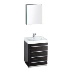 """Fresca - Livello 24 in. Wide Modern Bathroom Vanity w Medicine Cabinet (Bevera Chrome) - Choose Included Faucet: Bevera ChromeSingle Hole Faucet Mount (Faucet Shown In Picture May No Longer Be Available So Please Check Compatible Faucet List). Soft Closing Drawers. P-trap, Faucet, Pop-Up Drain and Installation Hardware Included. With overflow. Sink Color: White. Finish: Black. Sink Dimensions: 20.25 in. x13 in. x3.75 in. . Medicine Cabinet: 19.5 in. W x 26 in. H x 5 in. D. Materials: MDF with Acrylic Countertop/Sink with Overflow. Vanity: 23.38 in. W x 18.63 in. D x 33.5 in. HThe Livello 24"""" vanity features four pull out drawers that come equipped with slow closing hinges. Its sink is made with a durable acrylic material that is less likely to break then tradition ceramic, it also cleans better. This vanity's minimal design will make your bathroom feel like a modern oasis."""